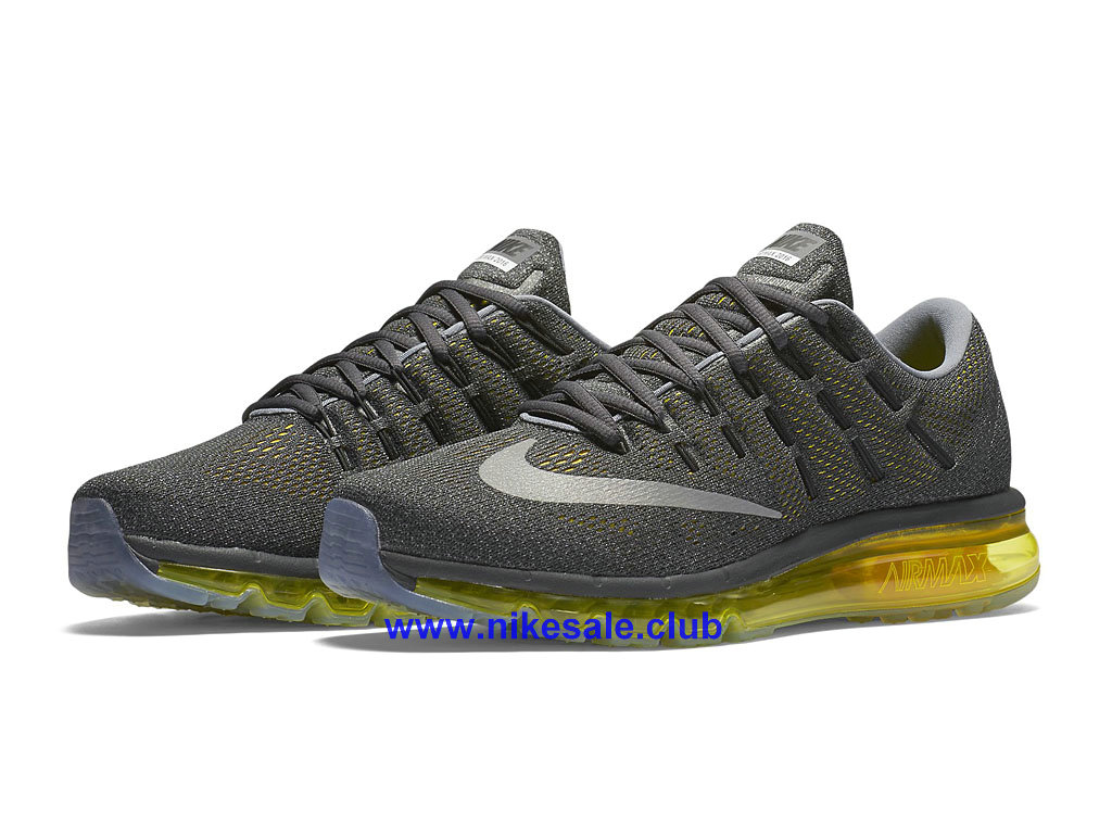 ... Chaussures Ruuning Homme Pas Cher Nike Air Max 2016 Gris/Noir/Jaune 806771_007 ...