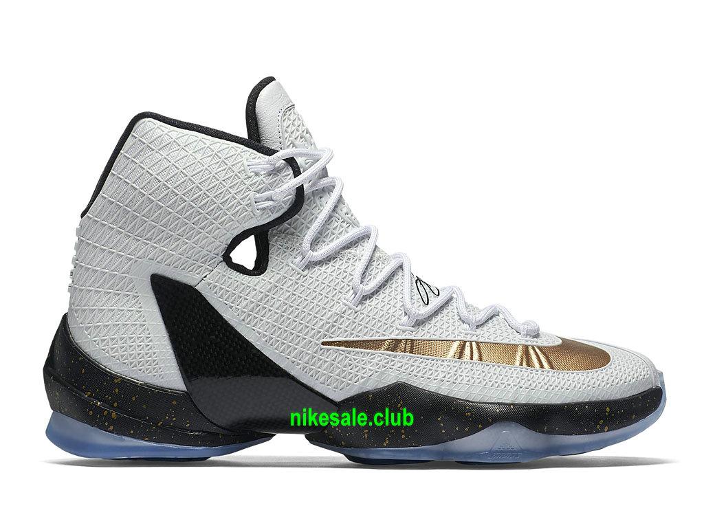 Nike LeBron 13XIII Elite Prix Gold Chaussures De BasketBall Pour Homme BlancNoirOr 831923_170 Les Nike Magasins Discount D´usine,Nike